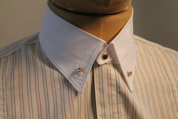 Edwardian Men's Shirts & Sweaters mens detachable collar white cotton collar with rhinestone studs vintage style collar for dress shirt $49.24 AT vintagedancer.com