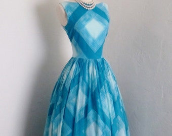 1950s Vintage Dress Summer Sundress Pin up jonathan Logan turquoise diamond breezy cotton