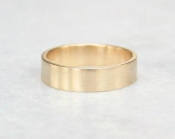 Gold Wedding Ring // Wide Solid 14k Yellow Gold Band // 6mm Flat Wedding Band // Shiny or Matte Finish // Eco Friendly Recycled Gold