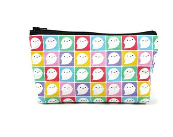 Little Kawaii Ghosts Makeup Bag, Tampon Case, Zipper Pouch, Toiletry Bag, Zippered Cosmetic Bag, Zippered Pouch,   Coin Purse, Glam Bag