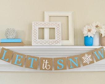 Let It Snow signe, décor de Noël bleu, bannière de Noël, Let It Snow bannière, guirlande de Noël, Noël bleu, bannière de l'hiver, B024