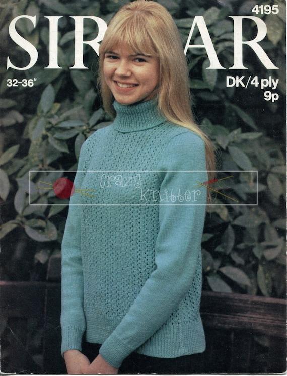 Teenage Polo Jumper 12-16 years 4ply DK Sirdar 4195 Vintage Knitting Pattern PDF instant download