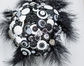 Black and White Button bouquet