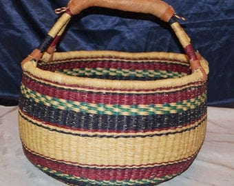 Vintage African Woven Basket Leather Handles Great for Decor or the Garden