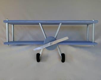 LARGE Hand Crafted Airplane Shelf, Airplane Decor, Wooden Airplane, Blue Airplane, Vintage Airplane Shelf