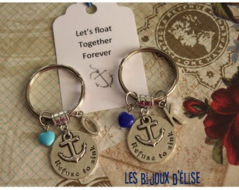 1 Refuse to Sink Keychain Personalized Motivational Keychain Turquoise or Blue Bag Dangle Feng Shui