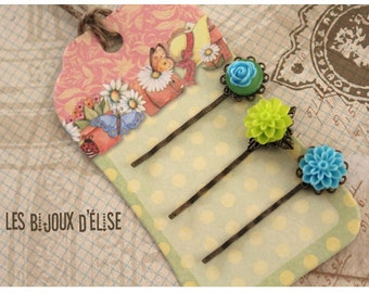 3 pcs Antique Bronze Hair Pins with Lime and Turquoise Flower Cabochon - Bridesmaid Gift (HP10)