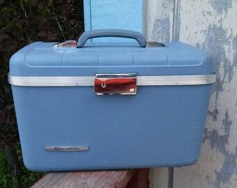 On Sale Starflite Light  Blue Train Case or Make Up Bag Vintage Luggage