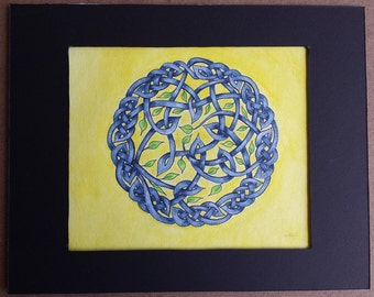 """Signed Original Artwork Painting Celtic Knot Art Abstract Knotwork **Not a Print! ** 8"""" x 10"""""""