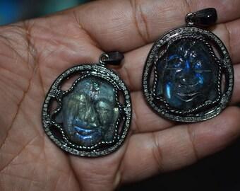 Genuine Natural Labradorite and Pave Diamond Buddha face Charm. 35 mm Long, Diamond Buddha Tarnish black over 925 Sterling Silver