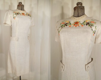 1960s Dress // 60s Mod Dress // Off White Dress // Fall Embroidered Dress // 60s Shift XL