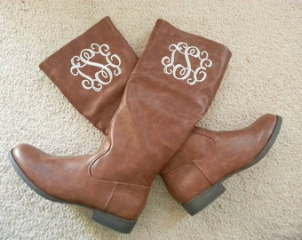 "Monogrammed Ladies ""leather"" Riding Boots (mid-calf)"