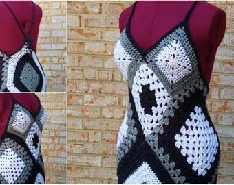 Black, White, and Grey Granny Square Dress - Beach Dress - Swimsuit Cover-up