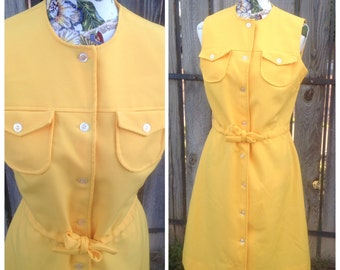 Vtg Shift Dress, Vtg Dress, Mod Dress, Shift Dress, Yellow Dress, Scooter Dress, Hipster, Secretary, Size 16, Twiggy, Mad Men, 60s, 70s