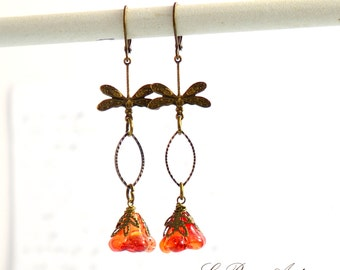Dragonfly Earrings with Orange glass flowers Antique bronze vintage insect dangles  christmas Gift for her