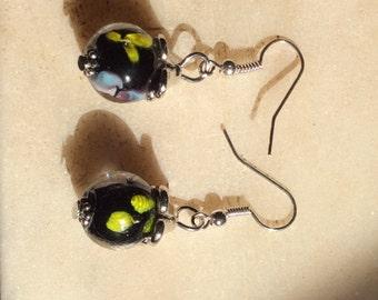Lovely Glass Floral Bead Dangle Earrings