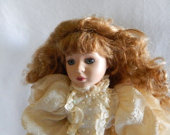 Vintage Brass Key Porcelain Doll