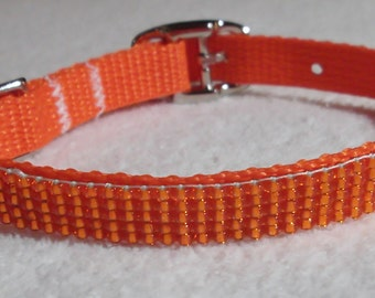 Silver-lined Orange Beaded Dog Collar, 8-1/2 to 12-1/2-inches/22-32 cm