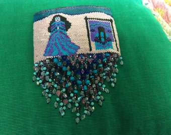 BEADED WALL HANGING Hand Peyote Stitched by Me Free Shipping