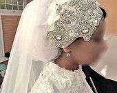 Artisan Gatsby Vintage Crystal Bridal Wedding Lace Sequin Bead embellished White Silver Pearl Swarovski Tiara tie back fascinator