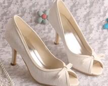Custom handmade white ivory champagne Lace Bridal wedding satin trim mid heel peeptoe bow front court pump heel - 8 colours!