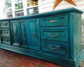 LARGE SIDEBOARD Hand painted Annie Sloan Chalk Paint® Storage Cabinet Distressed Dresser Drawers Dark Wax