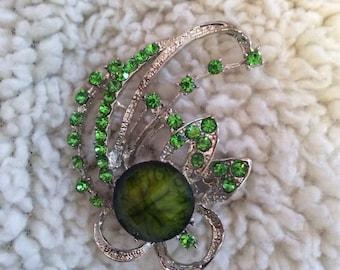 Green rhinestone brooch 2 in