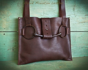 Bison Leather Horse Bit Bag or tote.