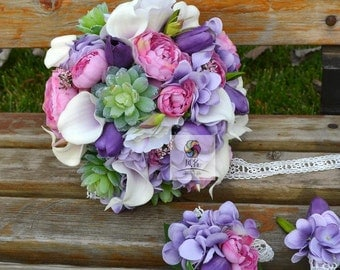 artificial flower wedding bridal bouquet pink green white buttercup calla sccullent balloonflower