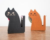 Cat Washi Tape Dispenser, Wooden Japanese Cats, Zakka Japan