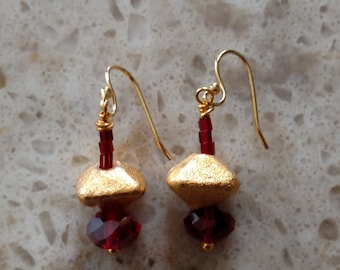 Gold Lame Beads and Red Dangle Earrings