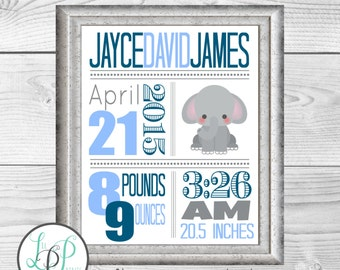 Elephant Nursery Wall Art, Elephant Birth Stats, Elephant Birth Details Print, Elephant Baby GIft, Custom Baby Gift, Elephant Announcement