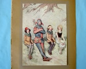 Hugh Thomson Jester and Children 1915 Small Antique Vintage Book Art Print 1910s 4 x 5.5 inches