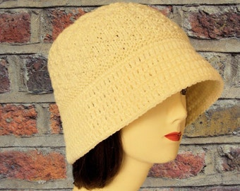Bucket Hat, Hand Knitted Hat, Wool Hat, Cream Hat, Cloche, Winter Hats, Flat Brim Hat, Off White Clothing, Womens Gifts, Sue Maun