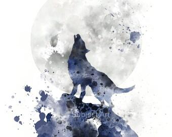 Howling Wolf ART PRINT Illustration, Animal, Wildlife, Wall Art, Home Decor, Moon