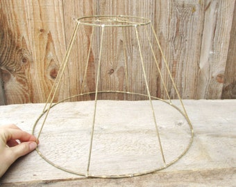 Lamp Shade Wire Frame, Metal Hanging Lampshade, Lighting Fixture, Lamp Supply, Salvaged Home Decor, DIY Project