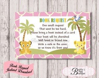 Baby Lion King, Pink Book Request,  Baby Shower, Digital Download