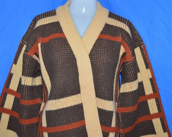 70s Brookville Brown Tan Large Scale Plaid Vintage Open Cardigan Sweater Women's Large