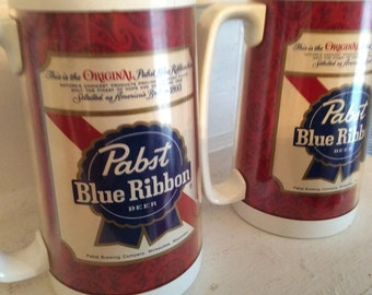 Pabst Blue Ribbon PBR Vintage Thermo-Serv Plastic Beer Mugs Set of 2