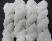 SALE Huge Sari Silk Textured Chiffon Ribbon skein , Color White
