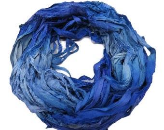 SALE Sari Silk Ribbon, 100g , Blue/Amethyst/Pale blue