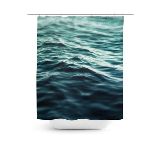 Dark waters 3 shower curtain turquoise blue green by - Green and turquoise curtains ...
