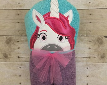 Unicorn hooded towel. Personalized hooded towel. Personalized unicorn towel