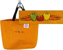 Vegetable Border Tote Carrots Tomato Peppers Monogram Custom Embroidered Farmers Market Shopping Bag