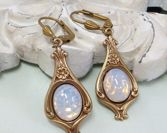 White Opal Earrings White Fire Opal Earrings Art Deco Victorian Bridal Wedding Jewelry Gift