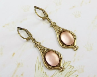 Rosaline Earrings Pink Peach Bridal Wedding Downton Abbey Victorian