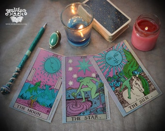 3 Pyschedelic Tarot Postcards / Gypsy Witch Art / Trippy Fortune Teller Art / Boho Chic Illustration Print / Psychic / Divination  Bohemian