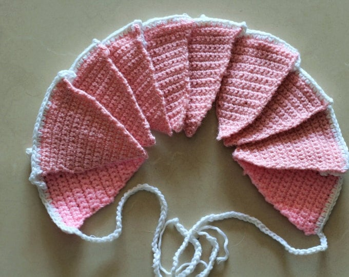 Garland Flag Crochet . Nursery Decor. Wall hanging decoration. Soft Pink Colour