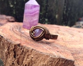 Size 9.5 •Amethyst• antique bronze wire wrapped ring