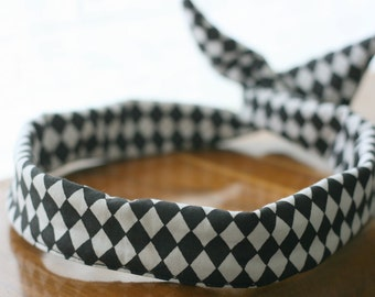 Headband retro-headband - diamond - black and white